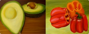 avocado and red peppers painting